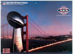 """1985 49ers vs Dolphins 36"""" x 48"""" Canvas Super Bowl XIX Program"""