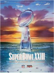 """1989 49ers vs Bengals 36"""" x 48"""" Canvas Super Bowl XXIII Program"""