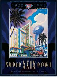 """1995 49ers vs Chargers 36"""" x 48"""" Canvas Super Bowl XXIX Program"""
