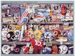 """1991 Giants vs Bills 36"""" x 48"""" Canvas Super Bowl XXV Program"""