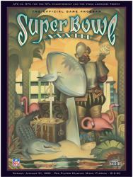 "1999 Broncos vs Falcons 36"" x 48"" Canvas Super Bowl XXXIII Program"
