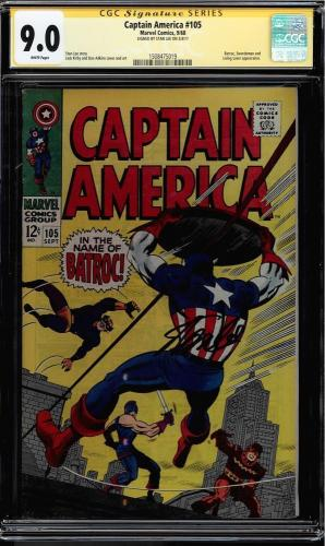 Captain America #105 Cgc 9.0 White Ss Stan Lee Signed Cgc #1508475019