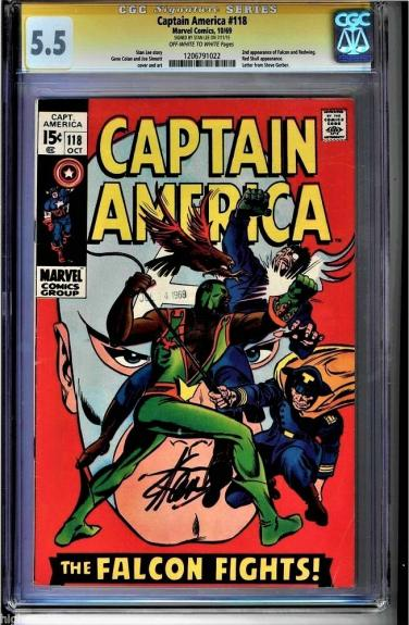 Captain America #118 Cgc 5.5 Oww Stan Lee Ss 2nd App Of Falcon #1206791022