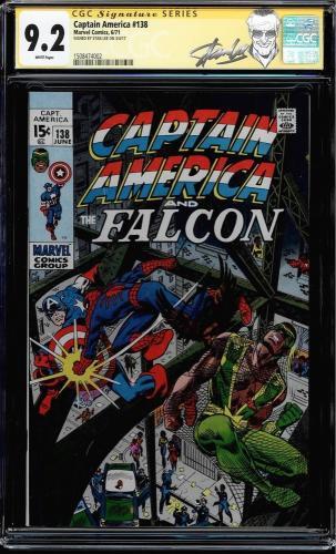 Captain America #138 Cgc 9.2 White Ss Stan Lee New Label Falcon  #1508474002