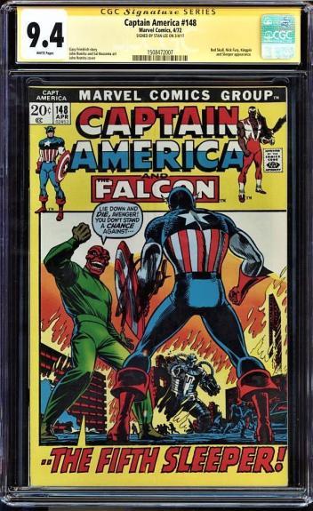 Captain America #148 Cgc 9.4 White Ss Stan Lee Signed Cgc #1508472007