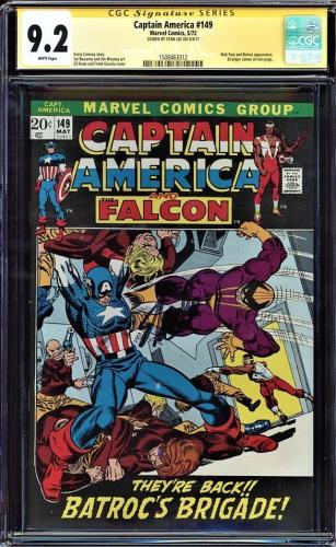 Captain America #149  Cgc 9.2 White Ss Stan Lee Signed Cgc #1508463012