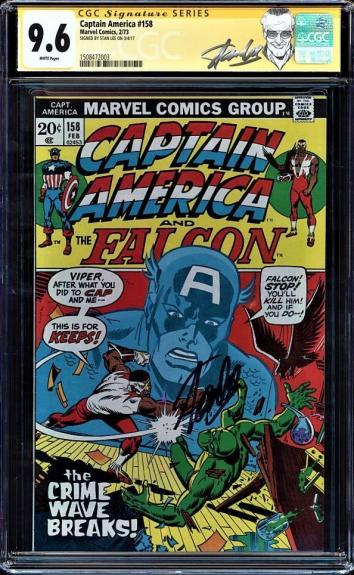 Captain America #158 Cgc 9.6 White Ss Stan Lee 2nd Highest Cgc Ss  #1508472003