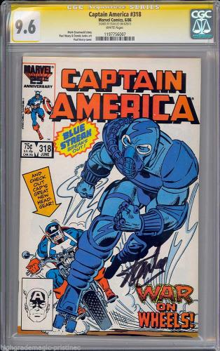 Captain America #318 Cgc 9.6 White Stan Lee Signed 1 Of 1 Cgc # 1197756007