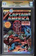 Captain America Annual #4 1977 Cgc 9.2 White Stan Lee Ss Magneto App #1206482021