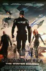 Captain America Cast Signed x4 Chris Evans Scarlett Johansson 12x18 PSA/DNA