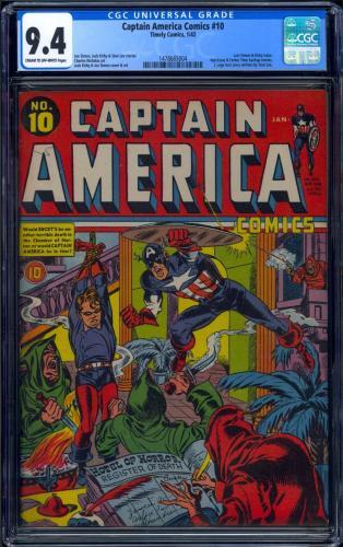 Captain America Comics #10 Cgc 9.4 Single Highest Cgc Graded Copy ! #1478665004
