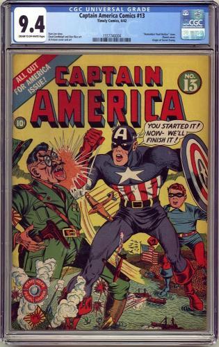 Captain America Comics #13 Cgc 9.4 Single Highest Graded Cgc #1557740004