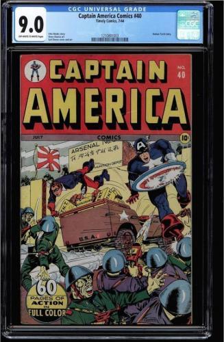 Captain America Comics #40 Cgc 9.0 Golden Age Single Highest Graded 1210801003 S