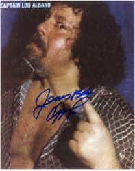 Captain Lou Albano Autographed 8'' x 10'' Finger Photograph - Mounted Memories