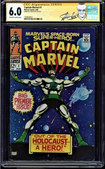 Captain Marvel #1 Cgc 6.0 Oww Ss Stan Lee, 2nd App Carol Danvers Cgc #1203829027