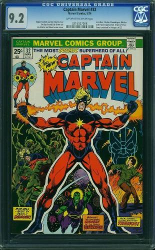 Captain Marvel #32 Oww Cgc 9.2 Thor And Iron Man Appearance Cgc #0215027008