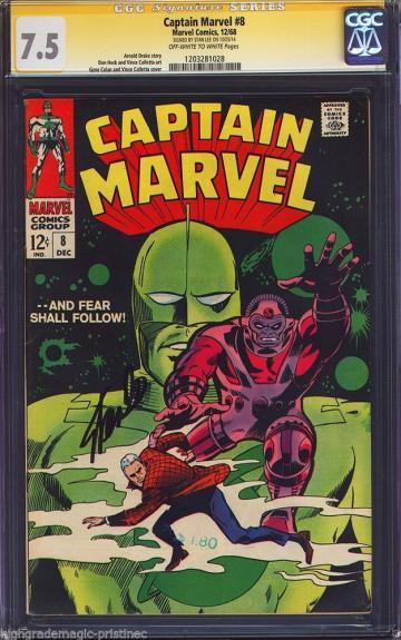 Captain Marvel #8 Cgc 7.5 Oww Ss Sig Series Stan Lee Cgc #1203281028