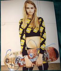 Cara Delevingne Signed Autograph Amazing Punk Style Simpsons Skateboard Photo