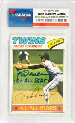 Rod Carew Minnesota Twins Autographed 1977 Topps #120 Card with 18 X All Star Inscription - Mounted Memories