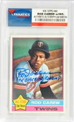 Rod Carew Minnesota Twins Autographed 1976 Topps #400 Card with 7 X Batting Champ Inscription - Mounted Memories