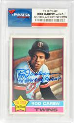 Rod Carew Minnesota Twins Autographed 1976 Topps #400 Card with 7 X Batting Champ Inscription
