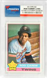 Rod Carew Minnesota Twins Autographed 1976 Topps #400 Card with HOF 91 Inscription - Mounted Memories