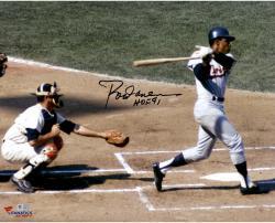 Rod Carew Minnesota Twins Autographed 16'' x 20''Horizontal Swing Photograph With HOF 91 Inscription