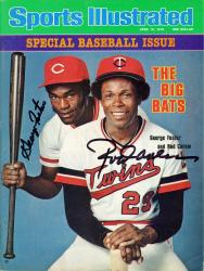 Rod Carew Minnesota Twins & George Foster Cincinnati Reds Autographed Big Bats Sports Illustrated Magazine - Mounted Memories