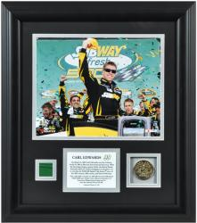 Carl Edwards 2013 Subway Fresh Fit 500 Framed 8'' x 10'' Photo with Gold Coin & Race-Used Flag - Mounted Memories