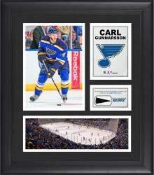 """Carl Gunnarsson St. Louis Blues Framed 15"""" x 17"""" Collage with Piece of Game-Used Puck"""