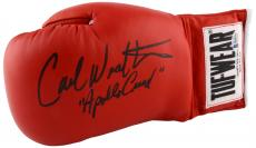 Carl Weathers Autographed Red Tuf-Wear Boxing Glove with Apollo Inscription - Beckett COA