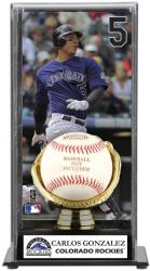 Carlos Gonzalez Colorado Rockies Baseball Display Case with Gold Glove & Plate