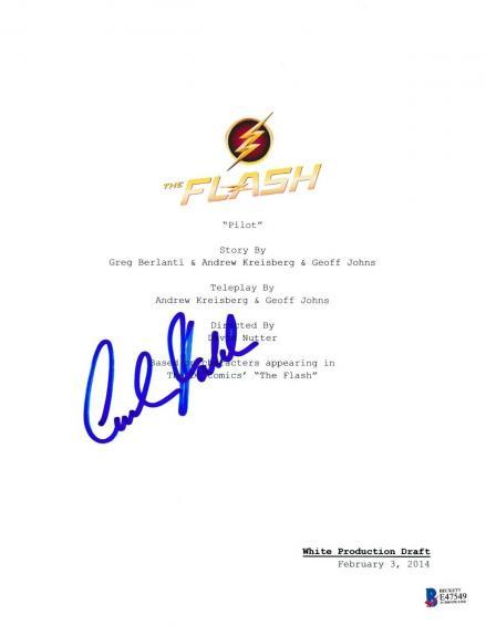Carlos Valdes Signed The Flash Pilot Script Beckett Bas Autograph Auto