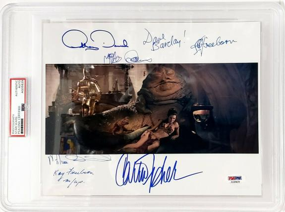 CARRIE FISHER, ANTHONY DANIELS +5 Signed STAR WARS 8x10 Photo PSA/DNA SLABBED