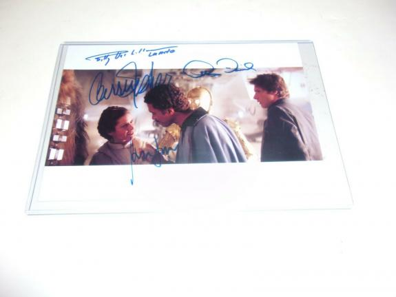 Carrie Fisher  Billy Dee Williams Star Wars W/coa Signed Photo