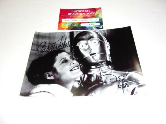 Carrie Fisher Anthony Daniels Princess Leia C3po Star Wars W/coa Signed Photo