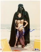 """Carrie Fisher Autographed 8"""" x 10"""" Star Wars With Darth Vadar Photograph - BAS COA"""