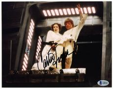 "Carrie Fisher Autographed 8"" x 10"" Star Wars With Mark Hamill Photograph Black Ink - BAS COA"