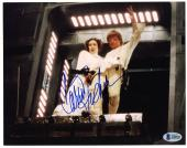 "Carrie Fisher Autographed 8"" x 10"" Star Wars With Mark Hamill Photograph Blue Ink - BAS COA"