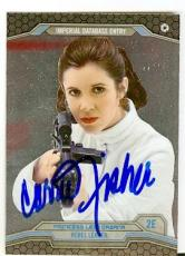 Carrie Fisher trading card with signature 2014 Topps Chrome Star Wars #2E Princess Leia