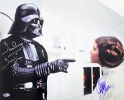 Carrie Fisher & David Prowse Star Wars Signed 16x20 Photo BAS #B37531