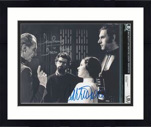 Carrie Fisher & David Prowse Star Wars Signed 8x10 Photo BAS Slabbed