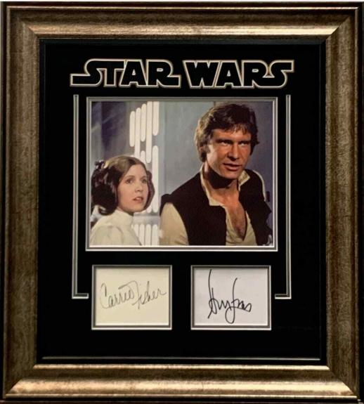 Carrie Fisher Harrison Ford Star Wars Rare Signed Autograph Photo Frame JSA PSA