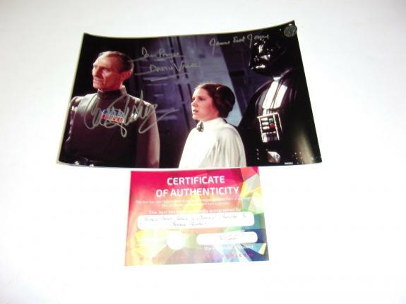 Carrie Fisher James Earl Jones David Prowse Star Wars W/coa Signed Photo