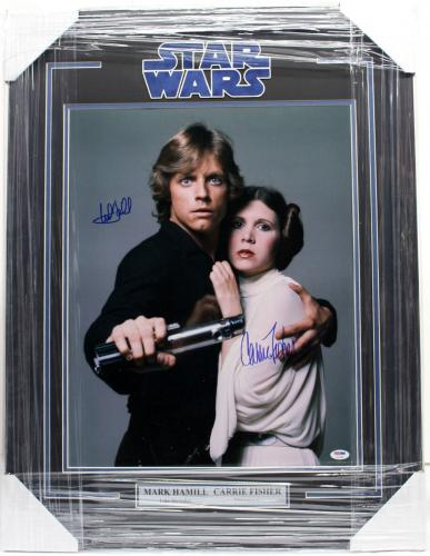 Carrie Fisher Mark Hamill Signed 16x20 Photo Framed Star Wars Psa/dna Y93488