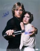 Carrie Fisher & Mark Hamill Signed Auto Star Wars 16x20 Photo Psa/dna #y93483