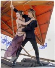 Carrie Fisher Mark Hamill Signed Autograph 16x20 Photo Luke Leia Psa/dna Y93504