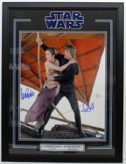 Carrie Fisher Mark Hamill Signed 16x20 Photo Framed Star Wars Psa/dna Y93514