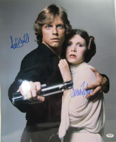 Carrie Fisher & Mark Hamill Signed Star Wars 16x20 Photo Psa/dna #y93480