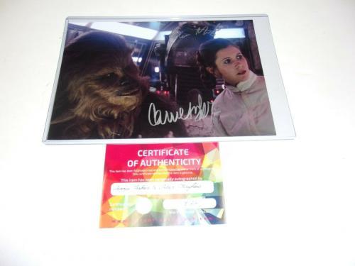 Carrie Fisher Peter Mayhew Princess Leia Chewbacca Star Wars W/coa Signed Photo